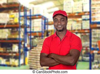hombre, trabajador, uniforme rojo