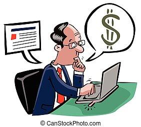 hombre, transacción, empresa / negocio, en línea