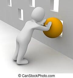 Hombre tratando de empujar la bola naranja a través de un agujero pequeño. 3d ilustrado.