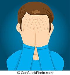 Hombre triste cubriendo la cara