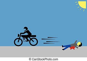 Hombre, víctima de un accidente de moto