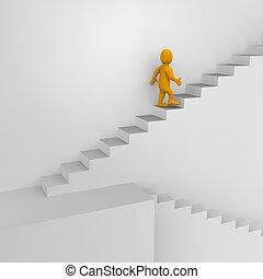 Hombre y escaleras. 3d ilustrado.