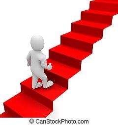 Hombre y escaleras de alfombra roja. 3d ilustrado.