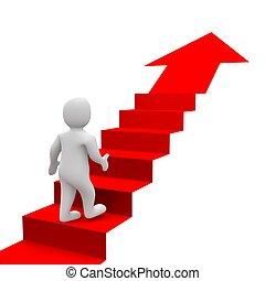 Hombre y escaleras rojas. 3d ilustrado.