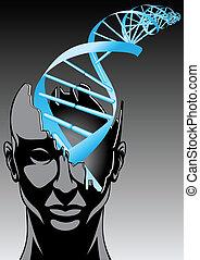Hombre y espiral de ADN, futuro de las tecnologías biológicas