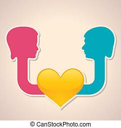 Hombre y mujer cara con corazón