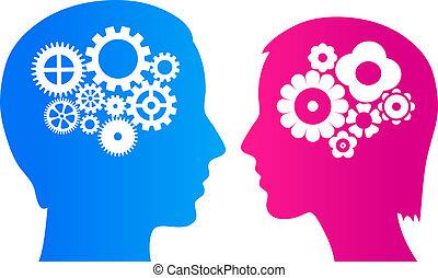 Hombre y mujer cerebro