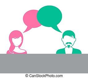 Hombre y mujer con burbujas de habla