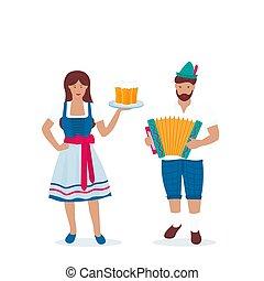 Hombre y mujer con trajes alemanes tradicionales celebran el Oktoberfest. Lederhosen y Dirndl. Un tipo con un sombrero verde con una pluma toca el acordeón.