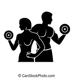 Hombre y mujer fitness silueta vector logo icono