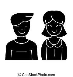Hombre y mujer: icono, ilustración vectorial, signo negro en el fondo aislado