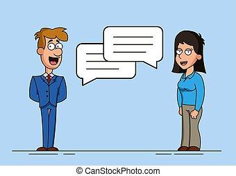 Hombre y mujer o dos trabajadores están involucrados en el diálogo. Burbujas de habla. Discusión de una idea o un problema. Reunión de dos amigos.