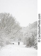 Hombre y perro en la nieve con espacio de copia