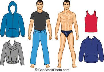 Hombre y ropa colección de colores