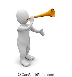 Hombre y trompeta. 3d ilustrado.