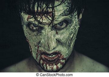 Hombre zombi espeluznante