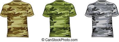 Hombres camisas militares