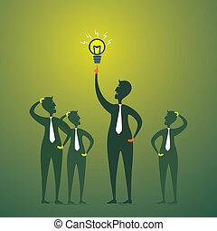 Hombres con nueva idea o bombilla