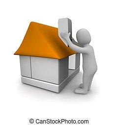 Hombres construyendo casa. 3d ilustrado.