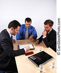 hombres de negocios, 1, negotiations., manejo, tres