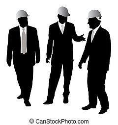 Hombres de negocios con casco protector