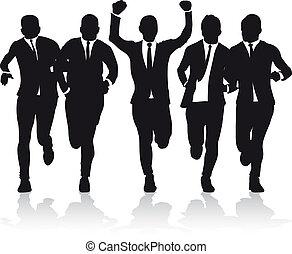 Hombres de negocios corriendo