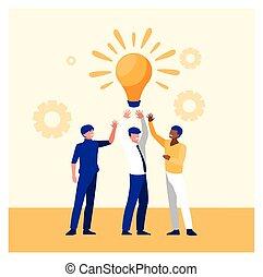 hombres de negocios, exitoso, éxito, equipo, empresa / negocio, celebrar