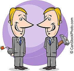 hombres de negocios, falso, caricatura, dos