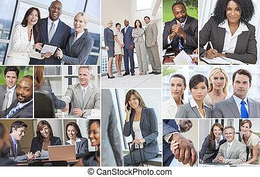 Hombres de negocios interraciales mujeres del equipo de trabajo