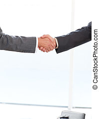 hombres de negocios, posición, cierre, manos, su, arriba, trabajo, dos, oficina, sacudida