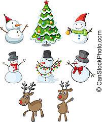 Hombres de nieve, renos y un árbol de Navidad