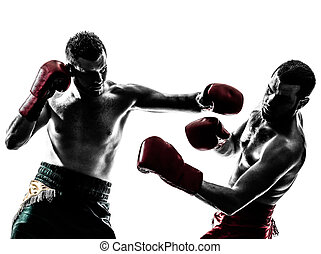 hombres, ejercitar, boxeo, silueta, tailandés, dos