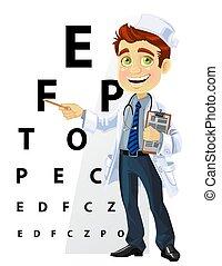 Hombres guapos, doctor, oftalmólogo