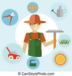 Hombres jardineros parados con sus herramientas de jardín. Actividades ambientales. iconos de jardinería