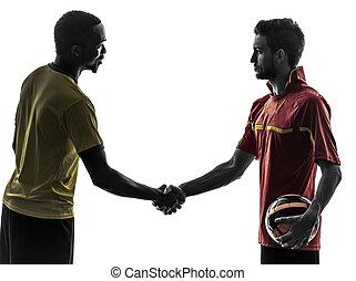 hombres, jugador, silueta, apretón de manos, futbol, apretón de manos, dos