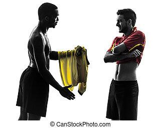 hombres, jugador, silueta, cambiar, futbol, jersey, posición, dos