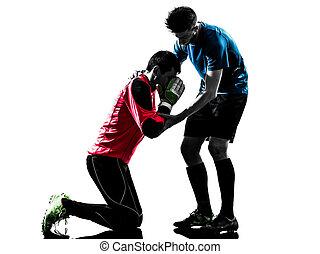 hombres, jugador, silueta, futbol, competición, portero, dos