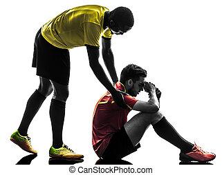 hombres, jugador, silueta, juego, justo, futbol, concepto, dos