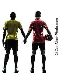 hombres, mano, silueta, jugador, posición, futbol, dos