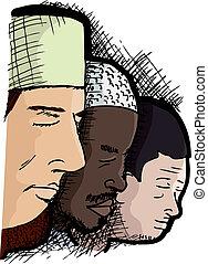 Hombres musulmanes rezando