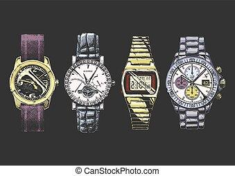 hombres, relojes de pulsera, conjunto