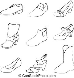 hombres, shoes, mujeres