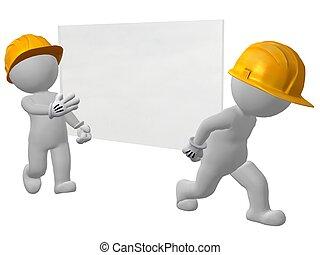 hombres, trabajo, dos, vidrio, proceso de llevar, cristal