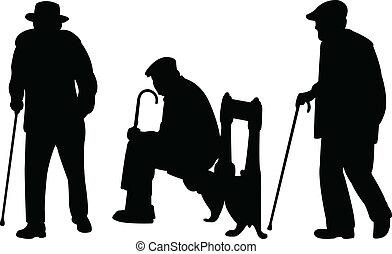 hombres, viejo, bastón