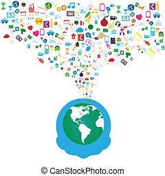 Hombres y cadenas sociales con iconos de los medios