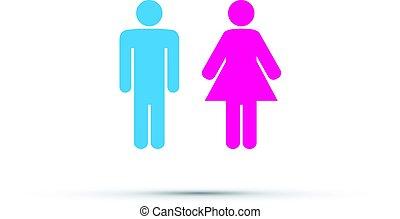 Hombres y mujeres el signo del baño