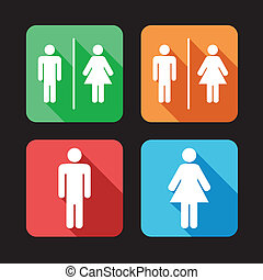 Hombres y mujeres signos de baño