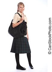 hombro, adolescente, uniforme de la escuela, bolsa, niña