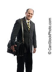 hombro, empresa / negocio, agregado, cuero, viaje, ejecutivo, confiado, bolsa, 3º edad, feliz