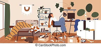 home., desorden, perezoso, apatía, basura, concept., around., room., lío, mujer, sucio, perezoso, llenar, ilustración, desordenado, persona, desordenado, desorden, caos, vector, apartamento, plano, dispersado